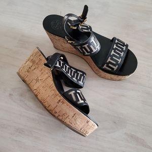 TORY BURCH cork heel platform wedges